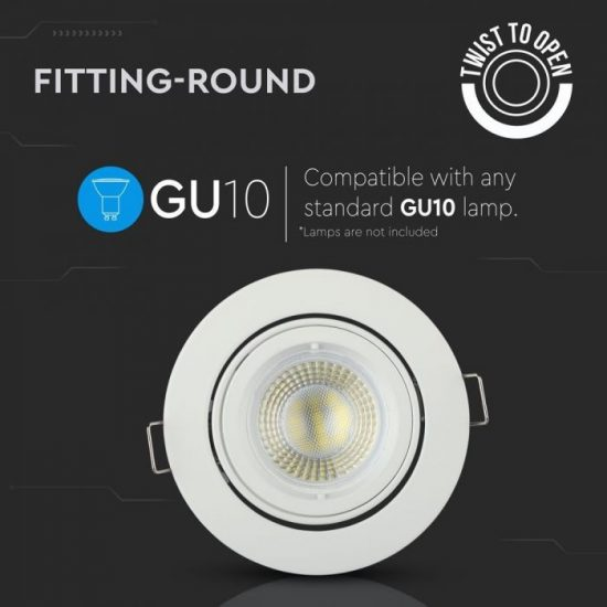V-TAC LED SPOT BEÉPÍTŐ KERET / GU10 /1-foglalat / fehér / kerek / billenthető / VT-775 3645