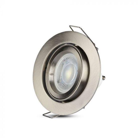 V-TAC LED SPOT BEÉPÍTŐ KERET / GU10 /1-foglalat / nikkel / kerek / billenthető / VT-775 3646