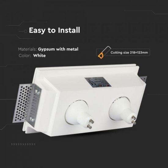 V-TAC LED SPOT BEÉPÍTŐ GIPSZKERET / GU10 / 2-foglalat / fehér / szögletes / fix / VT- 762 3648