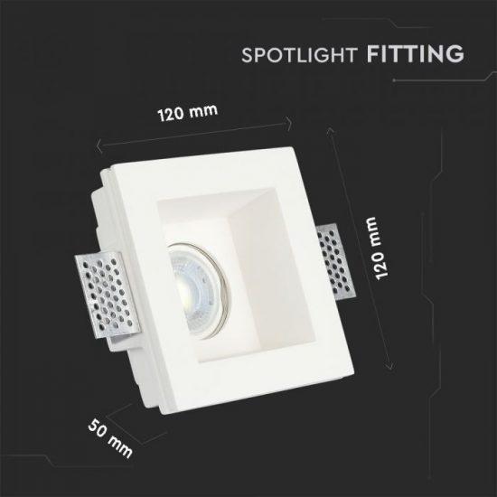 V-TAC LED SPOT BEÉPÍTŐ GIPSZKERET / GU10 / 1-foglalat / fehér / szögletes / fix / VT- 763 3649