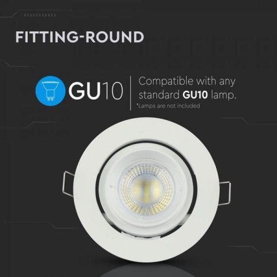 V-TAC LED SPOT BEÉPÍTŐ KERET / GU10 /1-foglalat / fehér / kerek / billenthető / VT-700 3689