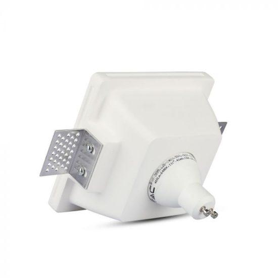 V-TAC LED SPOT BEÉPÍTŐ GIPSZKERET OPÁL ÜVEGGEL / GU10 / 1-foglalat / fehér / szögletes / fix / VT- 801 3691