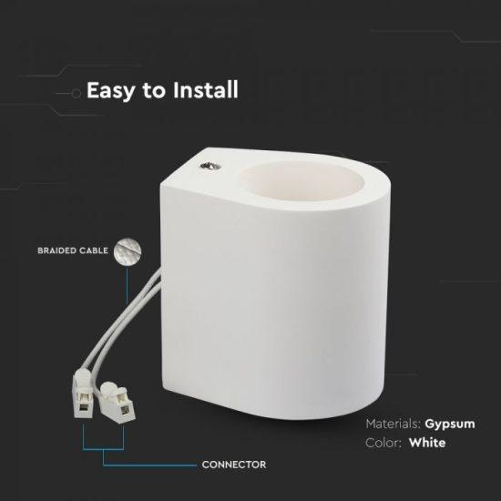 V-TAC LED SPOT OLDALFALI GIPSZKERET / G9 / 1-foglalat / fehér / kerek / fix / VT-858 3694