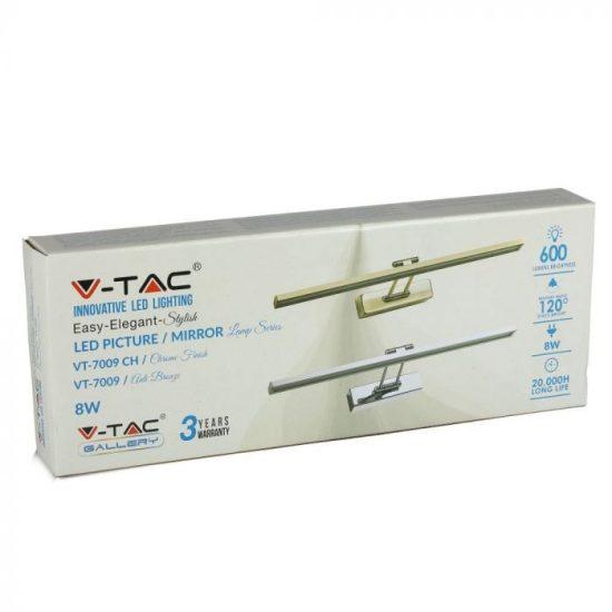 V-TAC LED TÜKÖRVILÁGÍTÁS / 8W / arany / VT-7009 nappali fehér 3901