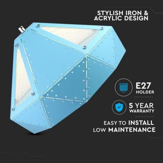 V-TAC Pasztel kék fém csillár prizma hátsú E27/VT-7310/ 3946