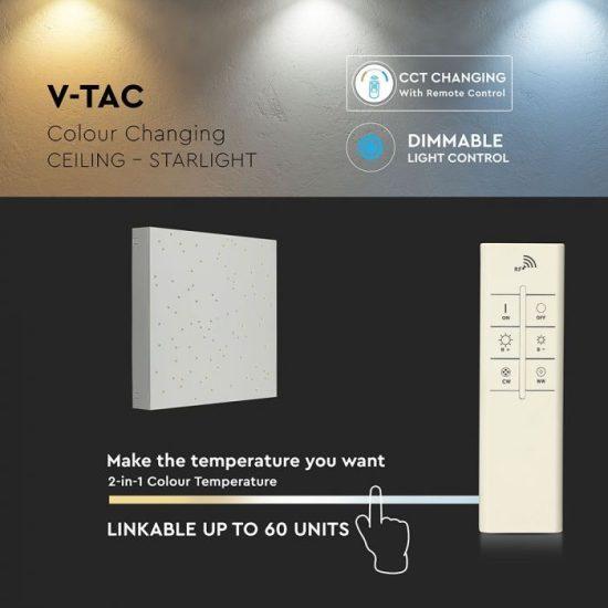 V-TAC LED DESIGN MENNYEZETI LÁMPA / 8W / Csillagos égbolt /  Dimmelhető / 3 in 1 vezérlővel / VT-7128 fehér 40281