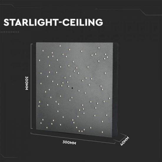 V-TAC LED DESIGN MENNYEZETI LÁMPA / 8W / Csillagos égbolt /  Dimmelhető / 3 in 1 vezérlővel / VT-7128 fekete 40291