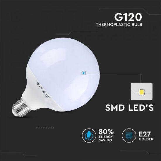 V-TAC LED DIMMELHETŐ IZZÓ / E27 foglalattal / G120 típus / 13W / meleg fehér - 3000K / 1055lumen / VT-1884 4254