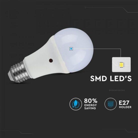V-TAC LED IZZÓ ALKONYKAPCSOLÓVAL / E27 foglalattal / A60 típus / 9W / meleg fehér - 2700K / 806lumen / VT-2016 4459