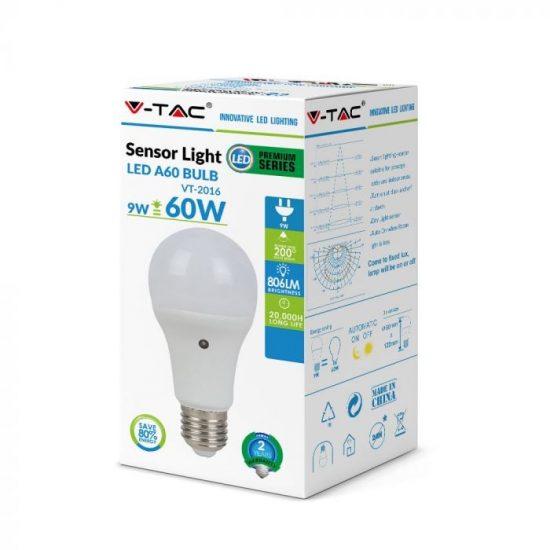 V-TAC LED IZZÓ ALKONYKAPCSOLÓVAL / E27 foglalattal / A60 típus / 9W / nappali fehér - 4000K / 806lumen / VT-2016 4460