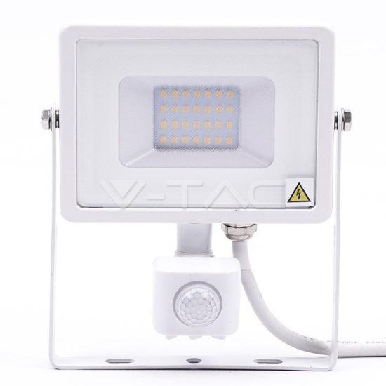 V-TAC LED MOZGÁSÉRZÉKELŐS REFLEKTOR / Samsung chip / 20W / fehér  / VT-20-S meleg fehér 448