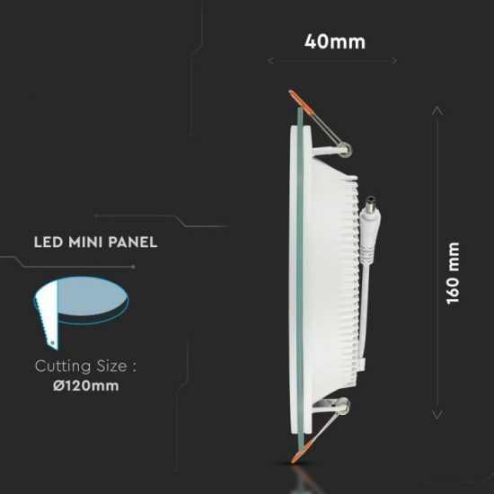 V-TAC ÜVEG LED PANEL / 12W / KÖR / 160mm / VT-1202G  / meleg fehér 4744