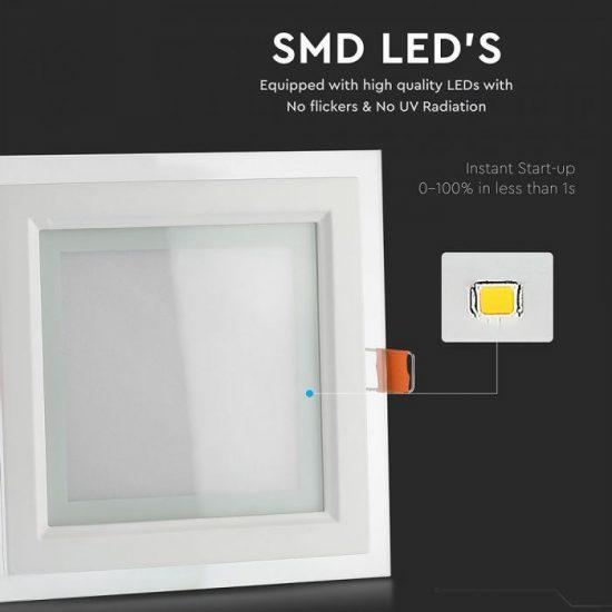 V-TAC MINi LED PANEL / 18W / NÉGYSZÖG / 198mm x 198mm/ VT-1881G  meleg fehér 4746