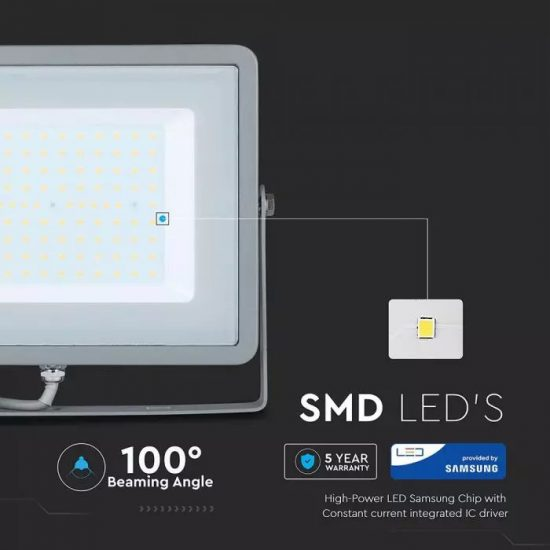 V-TAC LED REFLEKTOR / Samsung chip / 100W / szürke / VT-100 hideg fehér 474