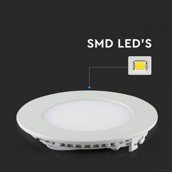 V-TAC PRÉMIUM LED PANEL / 6W / KÖR / 120mm / VT-607RD nappali fehér 4855