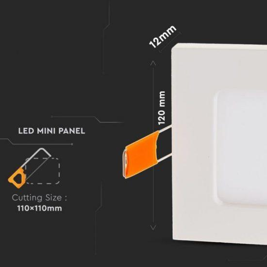 V-TAC PRÉMIUM LED PANEL / 6W / NÉGYSZÖG / 120mm / VT-607SQ nappali fehér 4864