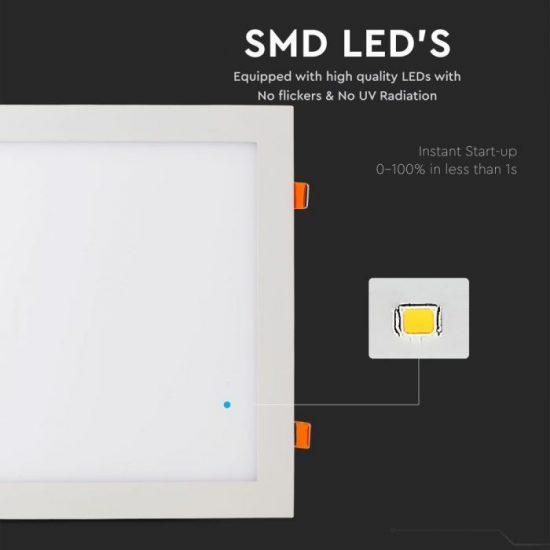 V-TAC PRÉMIUM LED PANEL / 24W / NÉGYSZÖG / 300mm / VT-2407SQ nappali fehér 4888