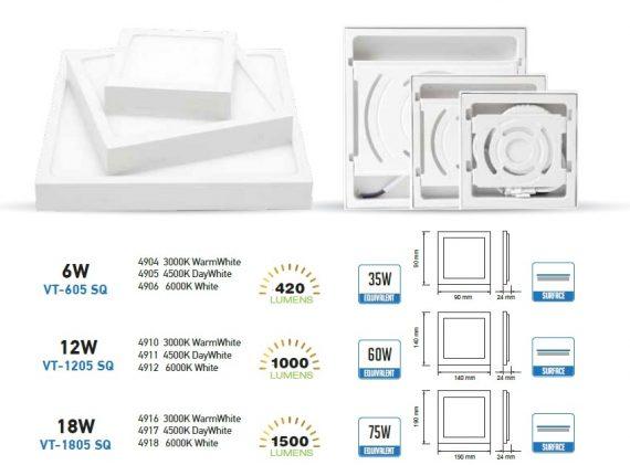 V-TAC FALON KÍVÜLI LED PANEL / 6W / NÉGYSZÖG / 90x90mm / VT-605SQ meleg fehér 4907