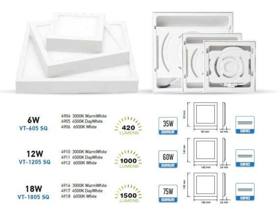V-TAC FALON KÍVÜLI LED PANEL / 18W / NÉGYSZÖG / 190x190mm / VT-1805SQ meleg fehér 4919