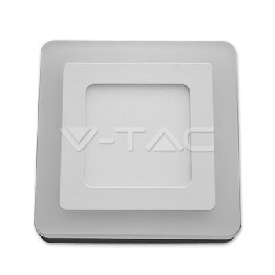 V-TAC FALON KÍVÜLI LED PANEL / 6 + 2W / NÉGYSZÖG /  VT-809 nappali fehér 4923