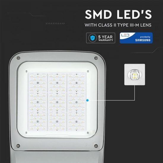 V-TAC LED UTCAI VILÁGÍTÓ / 160W / IP65 / szürke / nappali fehér - 4000K / 20800lumen / Samsung chip / VT-160ST 543