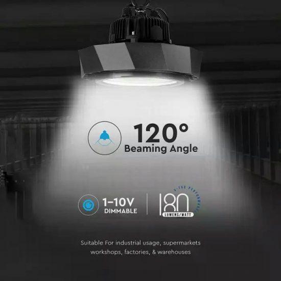 V-TAC LED CSARNOKVILÁGÍTÓ / Samsung chip / fekete / 100W / hideg fehér - 6000K / IP65 / VT-9-108 576