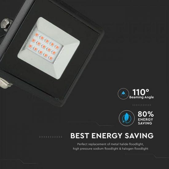 V-TAC LED REFLEKTOR / 10W / fekete / IP65 / piros fényű / VT-4011 5989