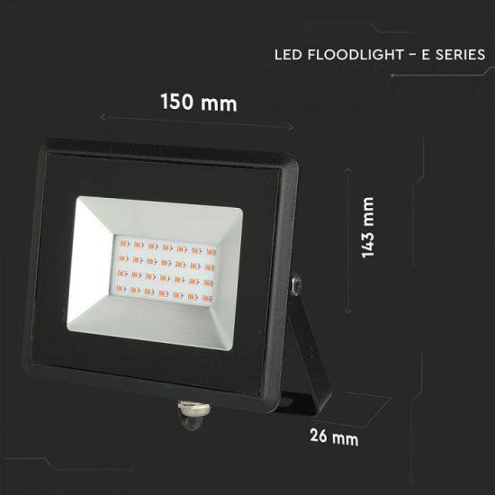 V-TAC LED REFLEKTOR / 20W / fekete / IP65 / piros fényű / VT-4021 5992