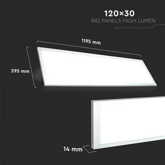 V-TAC LED PANEL / 29w / 3600lm / 1200x300mm / vezérlővel / VT-12031 nappali fehér 6257