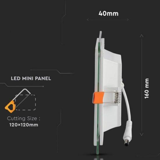 V-TAC MINi LED PANEL /12W / NÉGYSZÖG / 160mm x 160mm/ VT-1202G  nappali fehér 6278