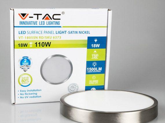 V-TAC FALON KÍVÜLI NIKKEL LED PANEL / 18W / KÖR / 190mm / VT-1805SN meleg fehér 6373