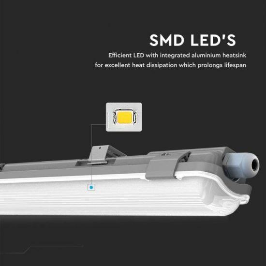 V-TAC 10w Vízmentes armatúra 60 cm LED fénycsővel 6400K IP65 /VT-6028/6464