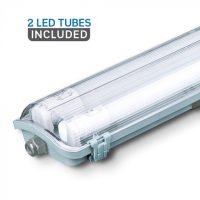 V-TAC LED VÍZMENTES LÁMPATES 2db LED FÉNYCSŐVEL / 20W(2x10W) / 60cm VT-6029 hideg fehér 6466