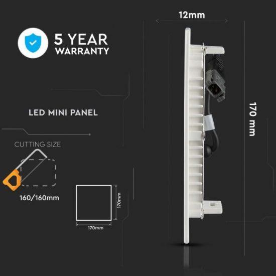 V-TAC MINI LED PANEL / 12W / Samsung chip / NÉGYSZÖG / 170 x 170mm / VT-612SQ hideg fehér 711