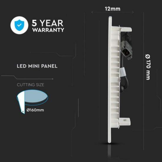 V-TAC MINI LED PANEL / 12W / Samsung chip / KÖR / 170mm / VT-612RD meleg fehér 712
