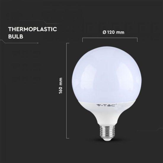 V-TAC LED DIMMELHETŐ IZZÓ / E27 foglalattal / G120 típus / 13W / nappali fehér - 4000K / 1055lumen / VT-1884 7194