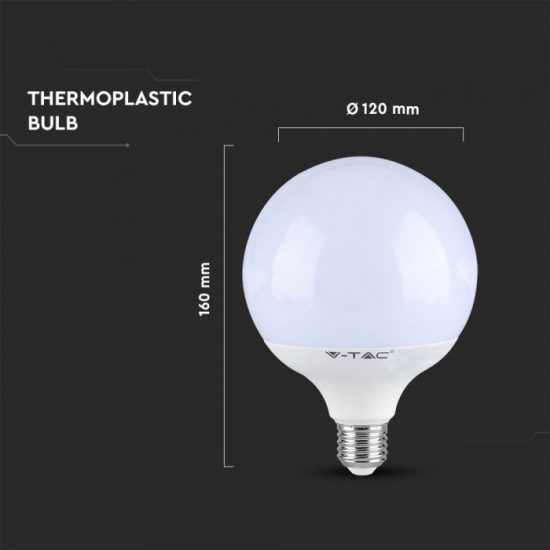 V-TAC LED DIMMELHETŐ IZZÓ / E27 foglalattal / G120 típus / 13W / hideg fehér - 6400K / 1055lumen / VT-1884 7195
