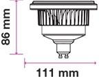 V-TAC LED DIMMELHETŐ SPOT / GU10 / 12W / 40° / nappali fehér - 4000K / AR111 / 900lumen / VT-1112D 7235