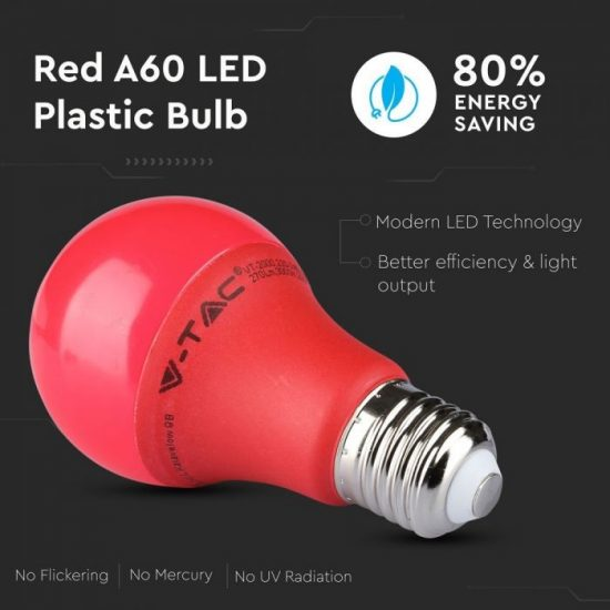 V-TAC LED IZZÓ / E27 / 9W / piros / VT-2000 meleg fehér 7341