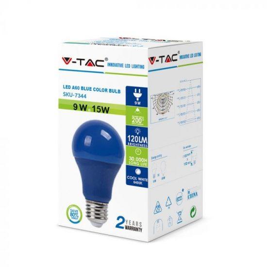 V-TAC LED IZZÓ / E27 / 9W / kék / VT-2000 meleg fehér 7344