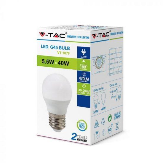 V-TAC LED IZZÓ / E27 / 5,5W / VT-1879 hideg fehér 7409