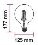 V-TAC FILAMENT IZZÓ / E27 / 12,5W  / VT-2143 meleg fehér 7453