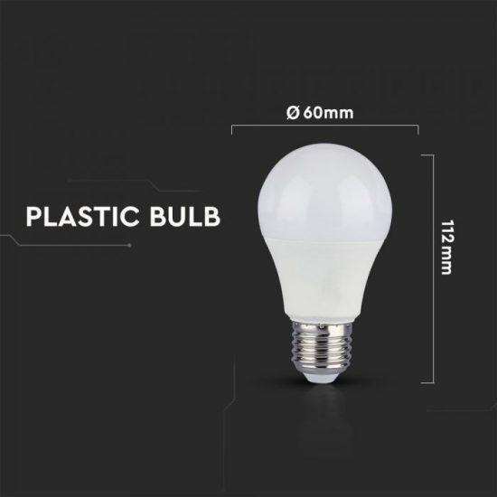 V-TAC LED IZZÓ / E27 foglalattal / A60 típus / 10W / nappali fehér - 4000K / 806lumen / CRI>95 magas szín visszaadás / VT-2210 7480