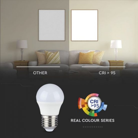 V-TAC LED IZZÓ / E27 foglalattal / G45 típus / 5,5W / meleg fehér - 2700K / 470lumen / VT-2216 7491