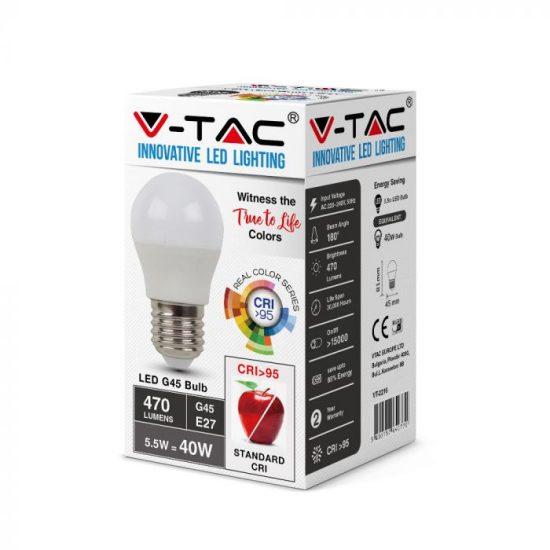 V-TAC LED IZZÓ / E27 foglalattal / G45 típus / 5,5W / nappali fehér - 4000K / 470lumen / VT-2216 7492