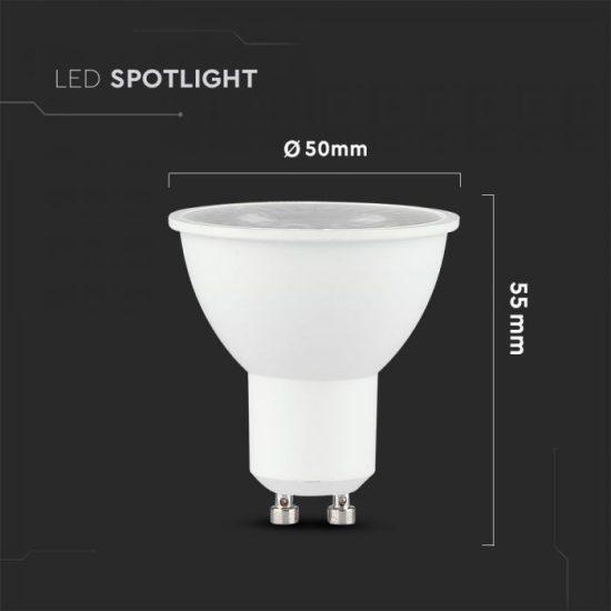 V-TAC LED SPOT/ GU10 / 38°/ 6W / CRI>95 magas szín visszaadás / nappali fehér - 4000K / 400lumen / VT-2206 7498