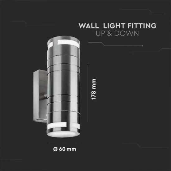 V-TAC LED KÉTIRÁYÚ FALI LÁMPA / max. 35W x 2 / acél / GU10 foglalattal x 2 / IP44 / VT-7632 7504