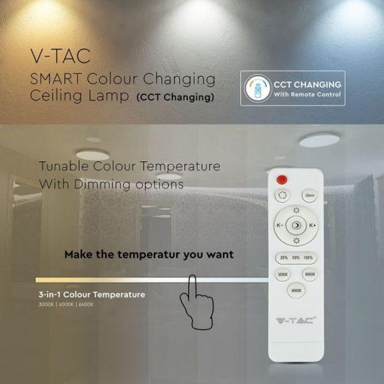 V-TAC LED DESIGN MENNYEZETI LÁMPA / 40W / Kristály hatás /  Dimmelhető / 3 in 1 vezérlővel / VT-8448 7600