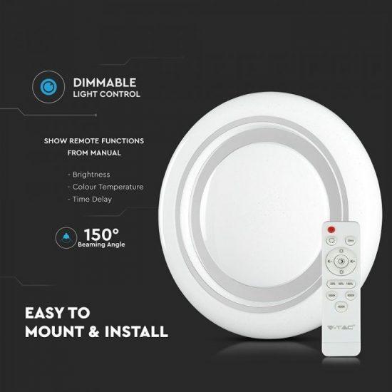 V-TAC LED DESIGN MENNYEZETI LÁMPA / 65W / Dimmelhető / 3 in 1 vezérlővel / VT-8473 7601