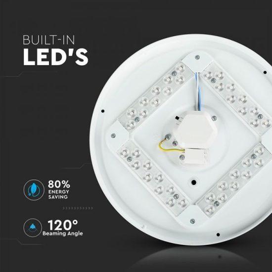 V-TAC LED MENNYEZETI LÁMPA / csillogó búra / fehér / beépített színhőmérséklet kapcsoló / 12W / VT-8412 7602